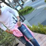 【春らしいピンクの麻シャツを使ったマリンコーデ☆彡】リネンシャツでおとなカワイイデニムスタイル