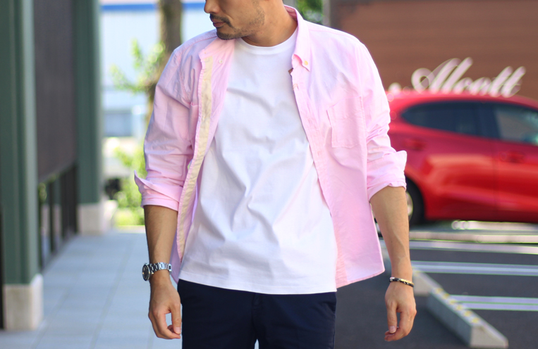 裾をピンクに切り替えたシルケットTシャツ