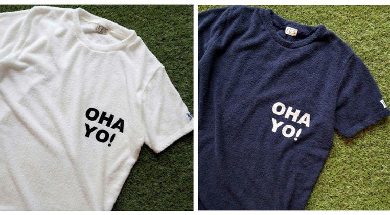 OHA YO!とプリントされたパイル地のTシャツ