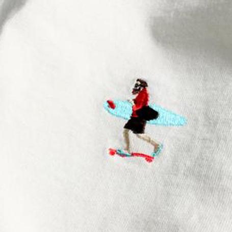 TES半袖Tの刺繍のアップ写真