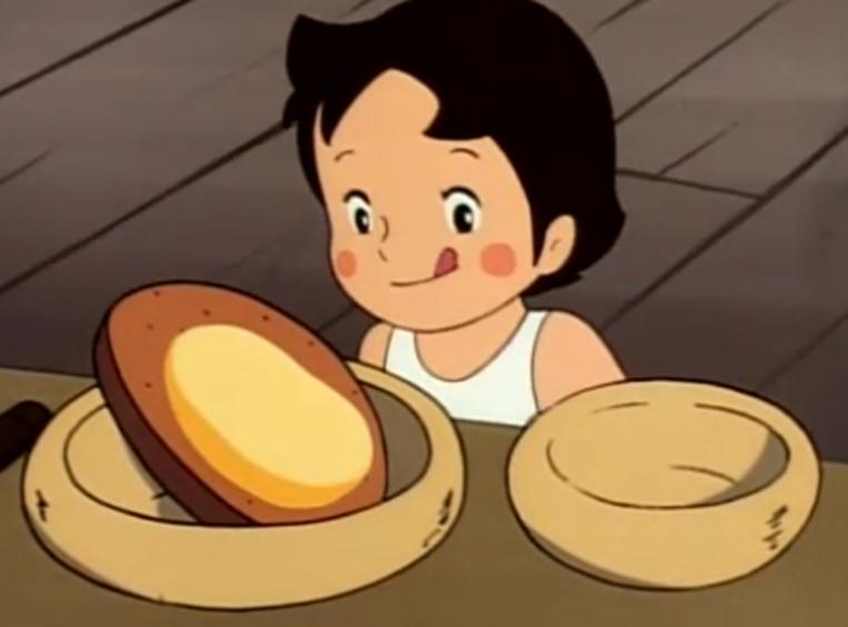 アルプスの少女ハイジがパンを眺めているシーン