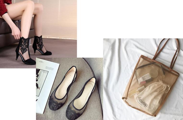 シアー素材を用いたバッグや靴