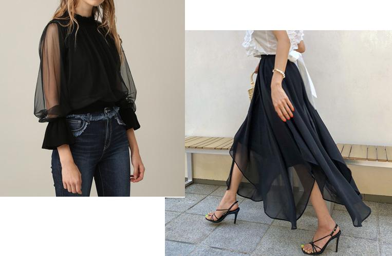 シアー素材のブラウスやスカート