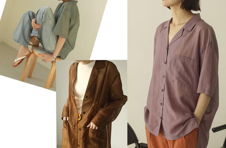 シアー素材のシャツを着た女性