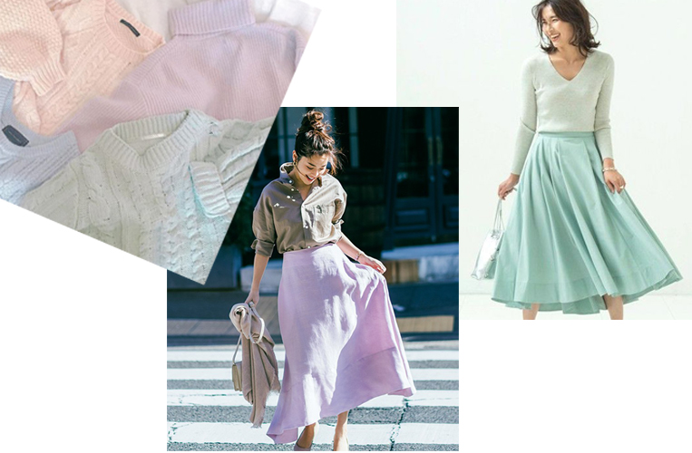 春物の洋服を着た女性