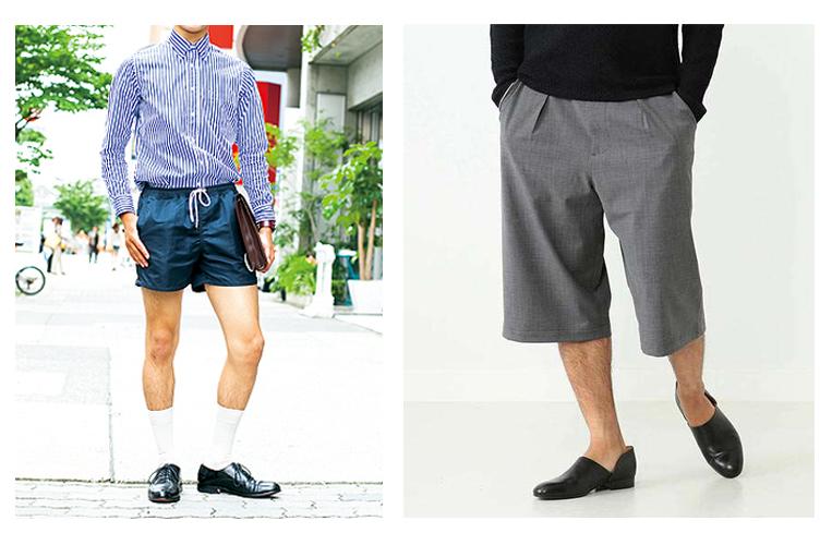 短い短パンを穿いた男性と長い短パンを穿いた男性