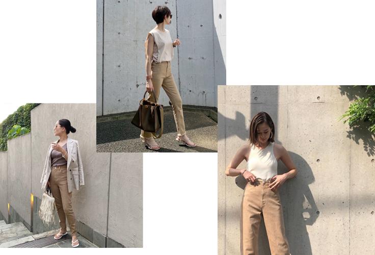 ニュアンスカラーデニムを穿くスタイリストの女性