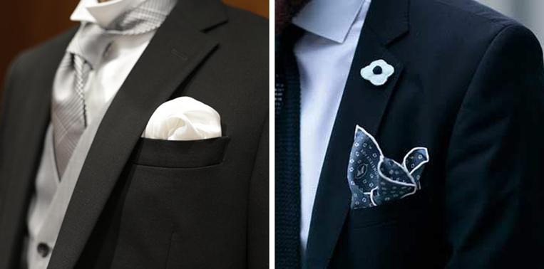 スーツにチーフを差している男性
