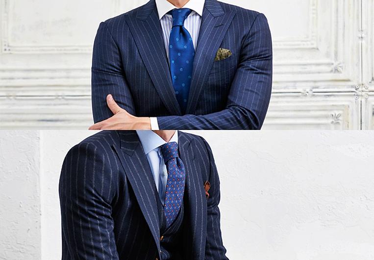 ストライプのスーツを着た男性